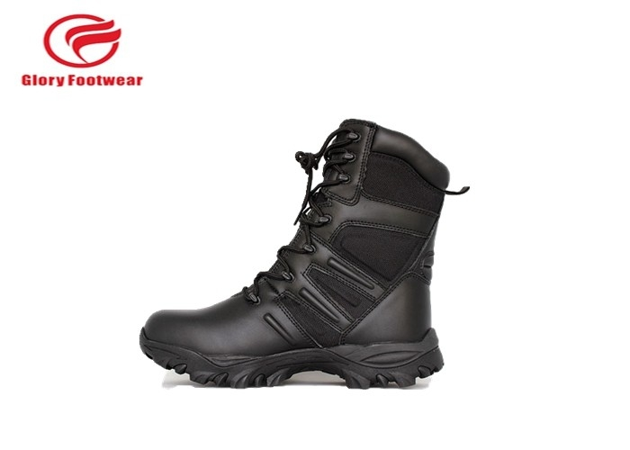 Black Mens Lace Up Genuine Leather Military Boots Water Resistant  Fashion