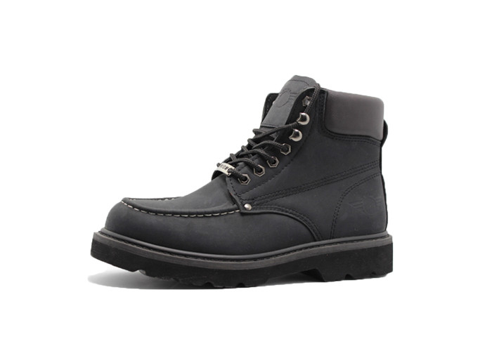 Black Nubuck Leather Breathable Mens Boots Goodyear Welt  Anti- Slip Safety