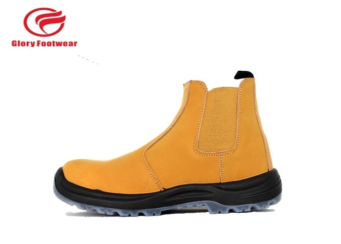 Protective Stylish Laceless Steel Toe Waterproof Slip On Boots Foor Office Yellow