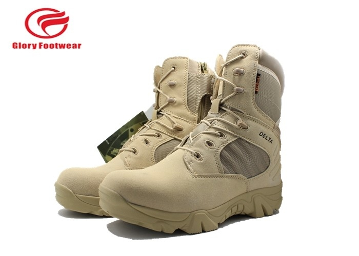 Suede Leather  Waterproof Hunting Boots , Knee High Lace Up Mens Camouflage Winter Boots